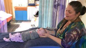 Baby Ruby getting treated by Dr Kathryn Tupper